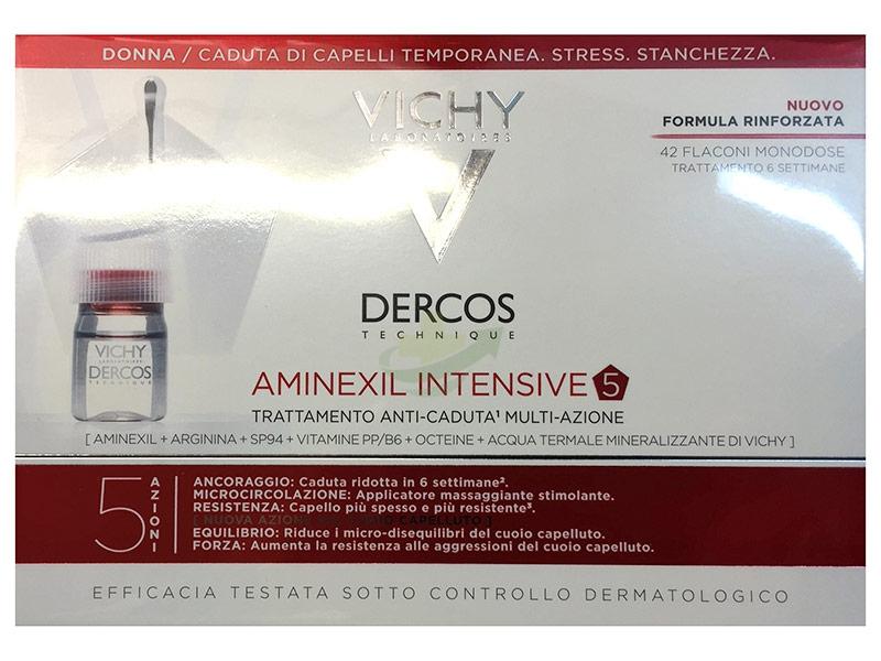 Dercos Linea Aminexil Intensive Trattamento Anticaduta 5 Azioni Donna 42 Fiale